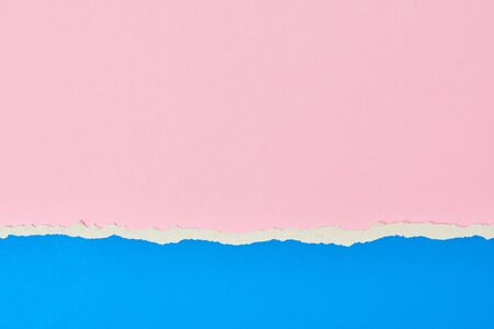 Torn ripped paper edge with copy space, pink and blue color background