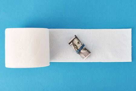Panic buying Covid-19 Coronavirus outbreak concept. Roll of toilet paper and usd dollar bills on blue background.