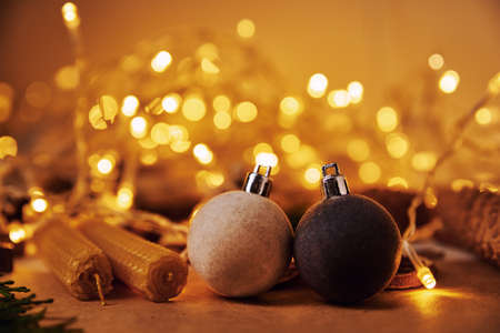 Christmas decoration, top view. Background with wooden christmas decorations on white background, flat lay style