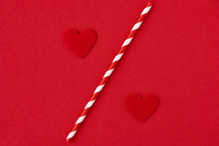 Valentines day. Hearts on the red background, creative concept Imagens