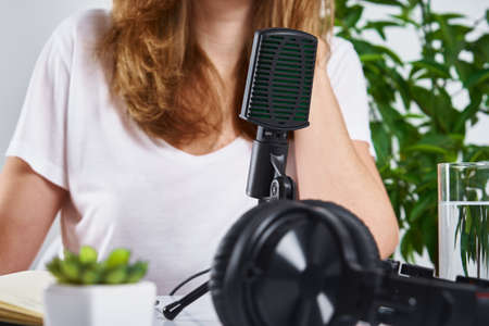 Podcast concept. Woman recording online course