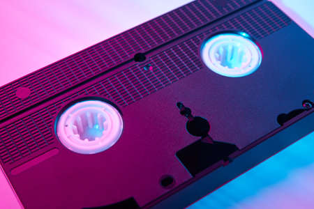 Video cassete on the color background. Retro vhs cassette tape Stock Photo