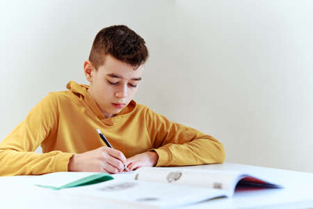 Teenage boy write homework at home. Education concept Stock Photo