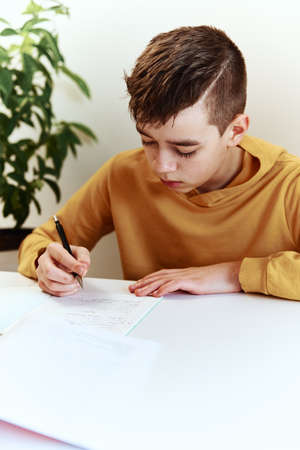 Teenage boy write homework at home. Education concept Banco de Imagens