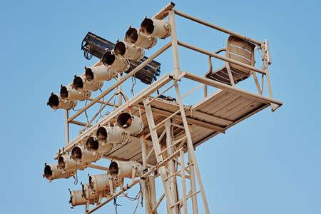 Lighting equipment for outdoor concerts. Spot lights installation