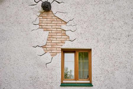 White house wall with window. Building facade Archivio Fotografico