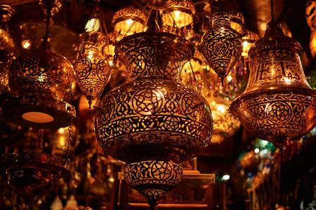 Many different ramadan lanterns on dark background in Egypt