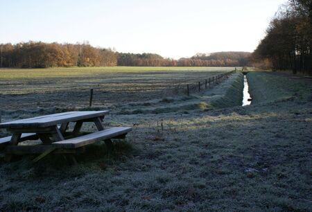picknick: Picknick bench in freezing landscape.