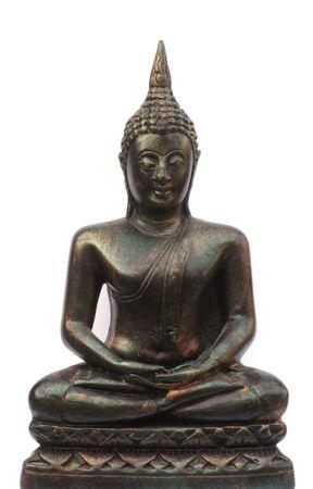 cabeza de buda: Buda de bronce aislados sobre un fondo blanco.