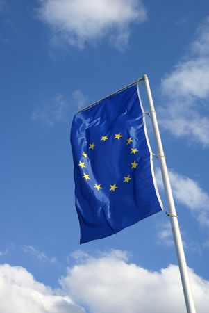 European flag against a blue sky. photo