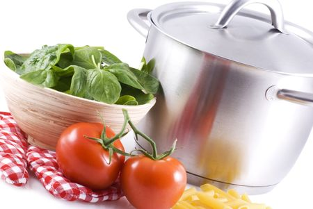 A pan and some ingredients on a white background. Stock Photo - 4870075