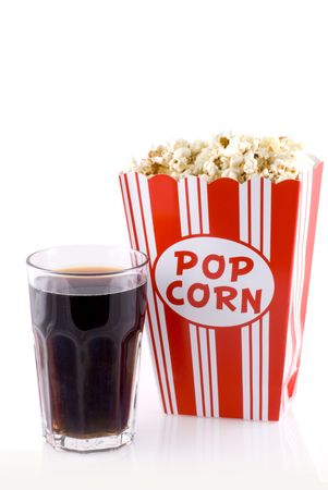 Box with popcorn and a glass of cola isolated on white. photo
