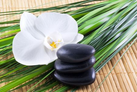 Black zen stones with white orchid and blades of grass on an bamboo background. photo