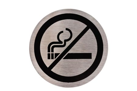 non: Steel non smoking sign isolated on white.