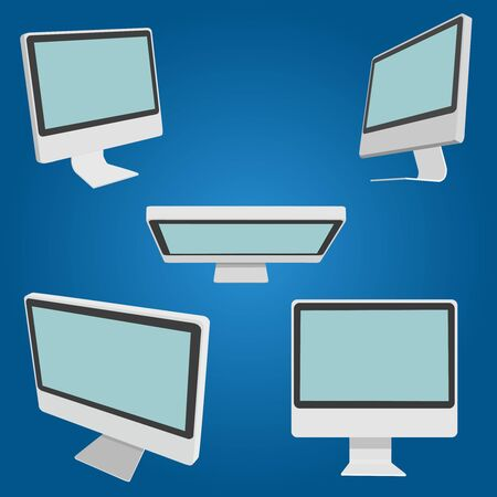 angled: Set of monitors from different angles.Front view, top view, side view of a three-fourths, 34 Illustration