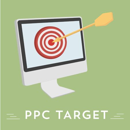 referral: Pay per click vector illustration, hit the target audience Illustration