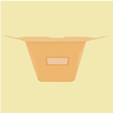 chinese take away container: The layout of the carton for food from a fast food restaurant. Front view. Illustration