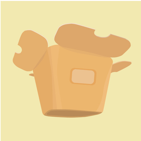 chinese take away container: The layout of the carton for food from a fast food restaurant, bottom view of a three-fourths.