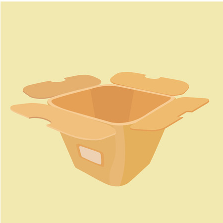 take out food container: The layout of the carton for food from a fast food restaurant. View of three quarters.