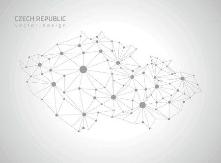 outline maps: Czech Republic gray outline maps Illustration
