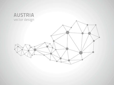 savour: Austria silver and gray outline maps Illustration