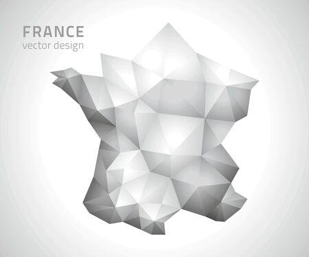 polity: France gray vector polygonal map Illustration