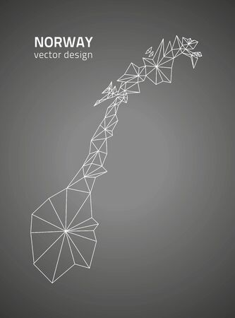 norway: Norway vector triangle perspective map