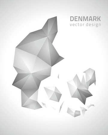 polity: Denmark gray vector polygonal map Illustration