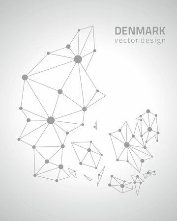 outline maps: Denmark gray vector outline maps