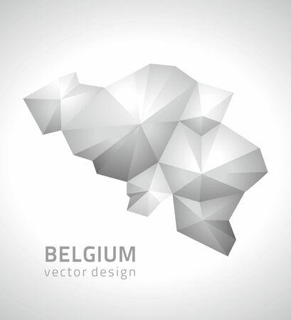 polity: Belgium Vector gray and silver polygonal map