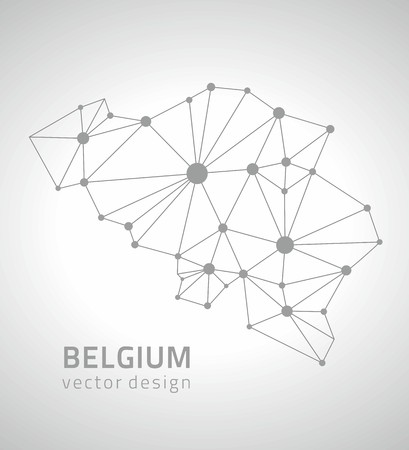 polity: Belgium vector gray contour maps Illustration