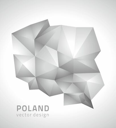 polity: Poland gray polygonal vector map Illustration