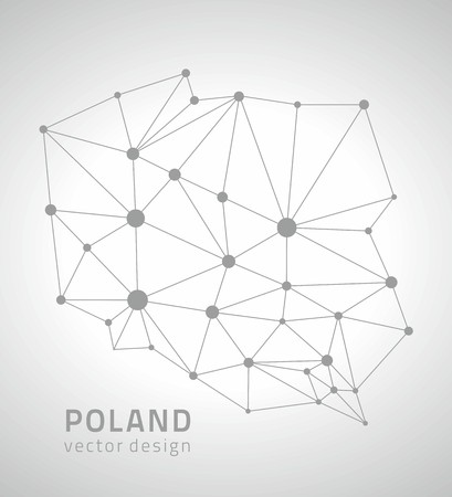 Poland gray contour vector map