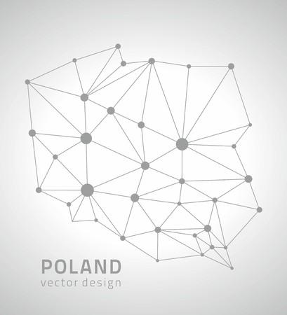 Polska szary kontur mapy wektorowe Ilustracje wektorowe
