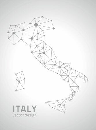polity: Italy gray and silver contour maps Illustration