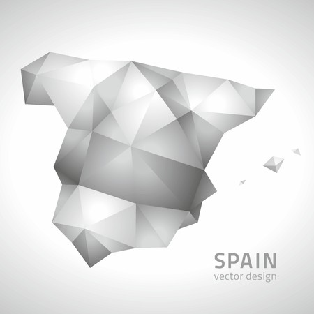 transverse: Spain polygonal gray vector maps Illustration