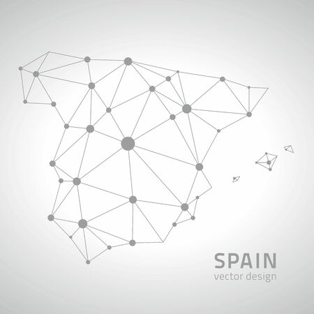 polity: Spain gray vector outline map of Europe Illustration