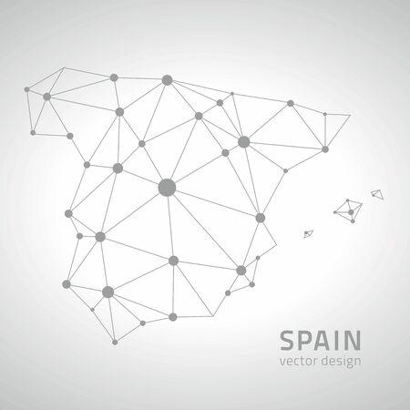 Spanien grau Vektor Sichtskarte von Europa