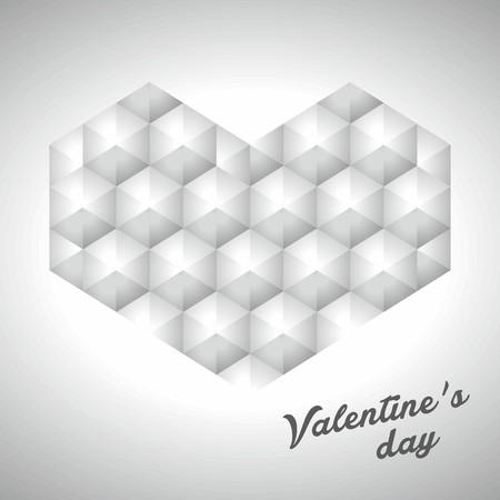 fondness: Heart gray vector polygonal design Illustration