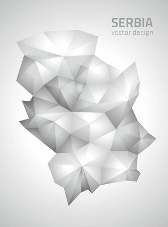 polity: Serbia polygonal gray triangle vector maps
