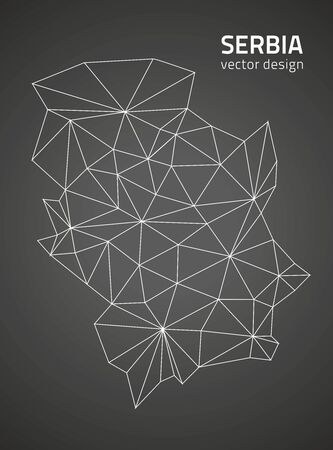 polity: Serbia vector polygonal outline map black