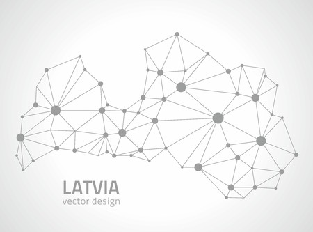 polity: Latvia silver polygonal outline map of Europe