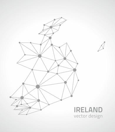 savour: Ireland dot Modern vector outline maps Illustration