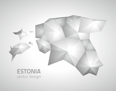 savour: Estonia polygonal triangle vector map Illustration