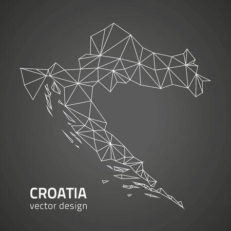 savour: Croatia contour map vector modern trinagle