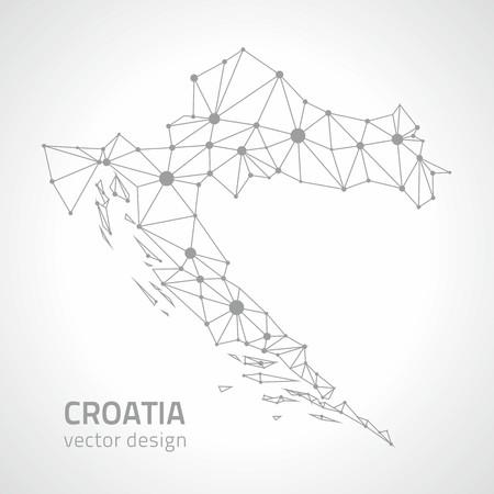 slant: Croatia trinagle vector gray contour dot map