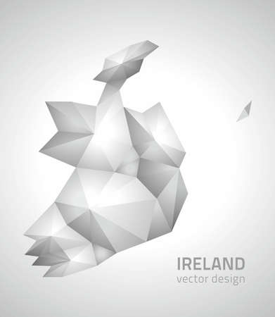 savour: Ireland polygonal gray triangle vector map