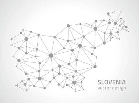 savour: Slovenia gray dot perspective vector maps