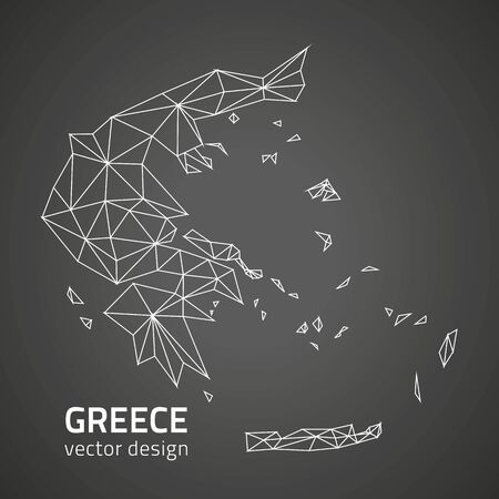 savour: Greece vector black trinagle map of Europe