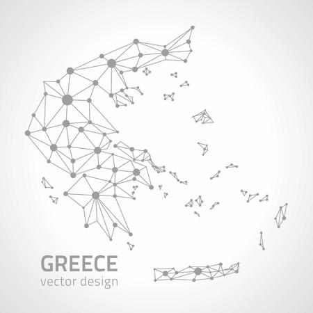 Greece gray vector polygonal contour maps